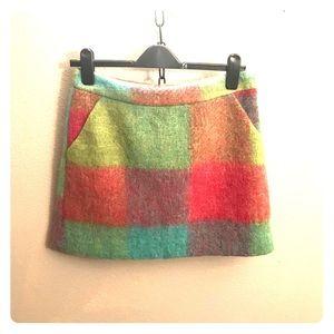 Topshop plaid wool mini-skirt